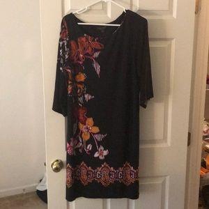 Black dress with fuchsia, orange accents